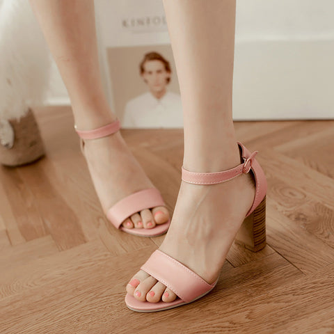 PU Pure Color Open Toe High Block Heel Ankle Strap Sandals 8.5 Pink