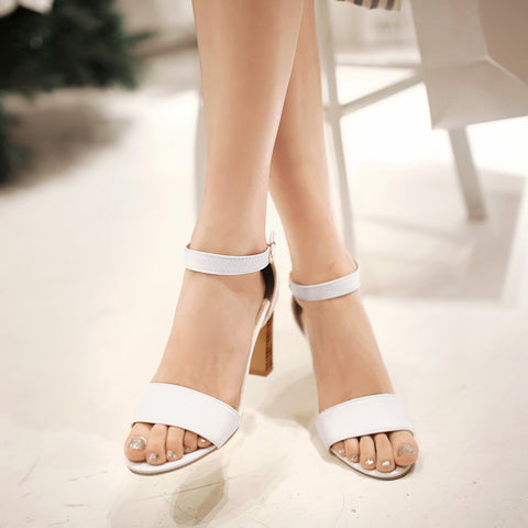 PU Pure Color Open Toe High Block Heel Ankle Strap Sandals 9 White