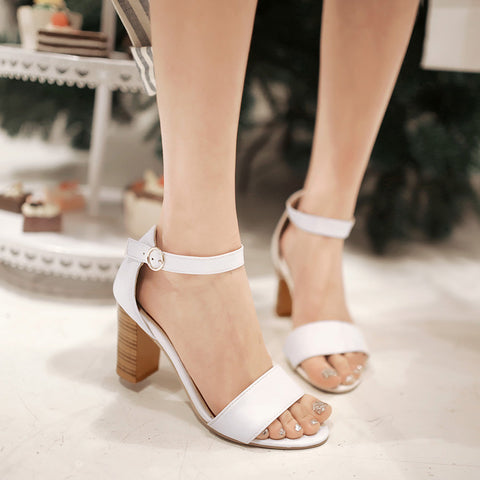 PU Pure Color Open Toe High Block Heel Ankle Strap Sandals 8.5 White