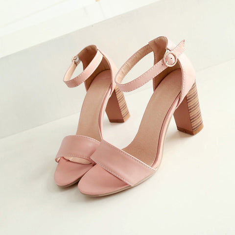 PU Pure Color Open Toe High Block Heel Ankle Strap Sandals 9.5 Pink