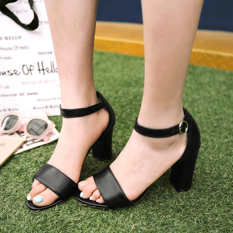 PU Pure Color Open Toe High Block Heel Ankle Strap Sandals 8.5 Black