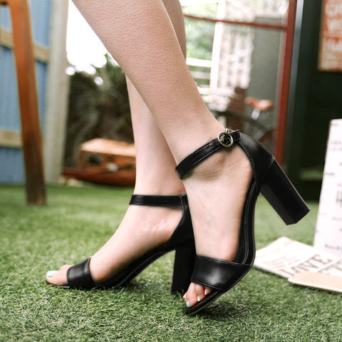 PU Pure Color Open Toe High Block Heel Ankle Strap Sandals 9 Black