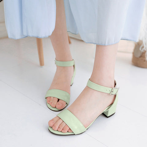 PU Pure Color Open Toe Middle Block Heel Ankle Strap Sandals 8.5 Green
