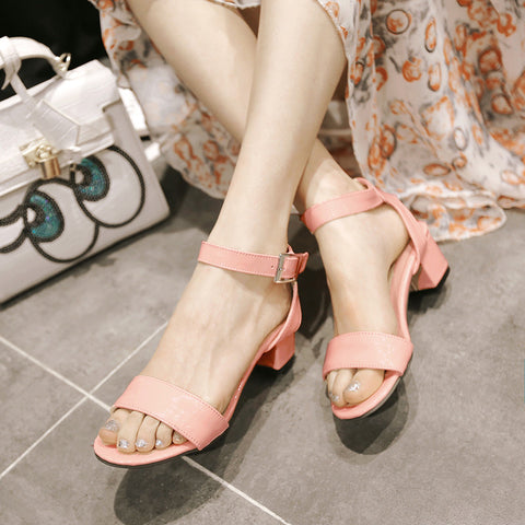PU Pure Color Open Toe Middle Block Heel Ankle Strap Sandals 8.5 Pink