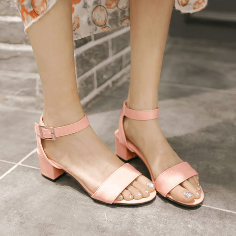 PU Pure Color Open Toe Middle Block Heel Ankle Strap Sandals 9 Pink