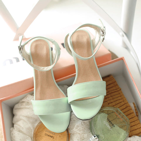 PU Pure Color Open Toe Middle Block Heel Ankle Strap Sandals 9.5 Green