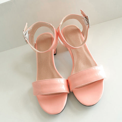 PU Pure Color Open Toe Middle Block Heel Ankle Strap Sandals 9.5 Pink