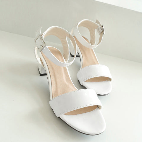 PU Pure Color Open Toe Middle Block Heel Ankle Strap Sandals 9.5 White