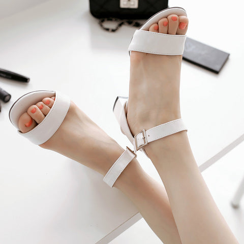 PU Pure Color Open Toe Middle Block Heel Ankle Strap Sandals 9 White