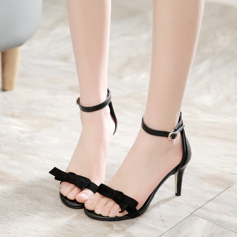 PU Pure Color Open Toe Stiletto Heel Ankle Strap Bowtie Sandals 7.5 Black