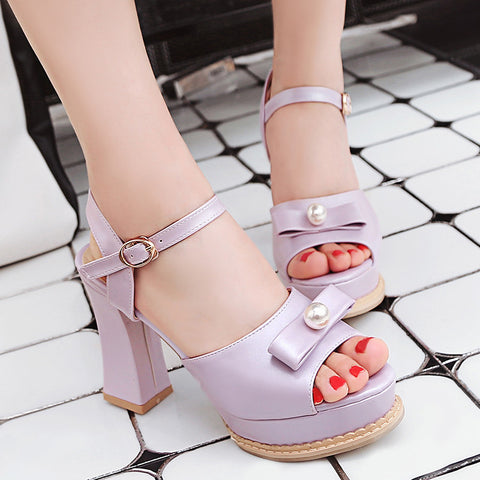 PU Pure Color Peep Toe Block Heel Metal Buckle Belt Pearl Bowtie Sandals 8.5 Purple