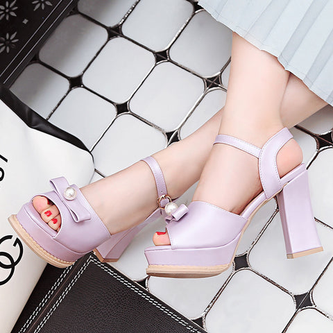 PU Pure Color Peep Toe Block Heel Metal Buckle Belt Pearl Bowtie Sandals 9 Purple