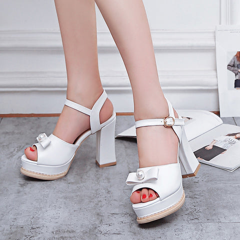 PU Pure Color Peep Toe Block Heel Metal Buckle Belt Pearl Bowtie Sandals 8.5 White