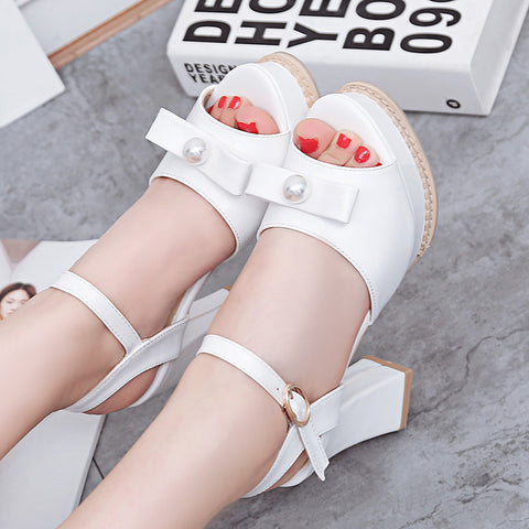 PU Pure Color Peep Toe Block Heel Metal Buckle Belt Pearl Bowtie Sandals 9 White
