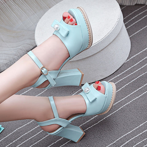 PU Pure Color Peep Toe Block Heel Metal Buckle Belt Pearl Bowtie Sandals 9 Blue
