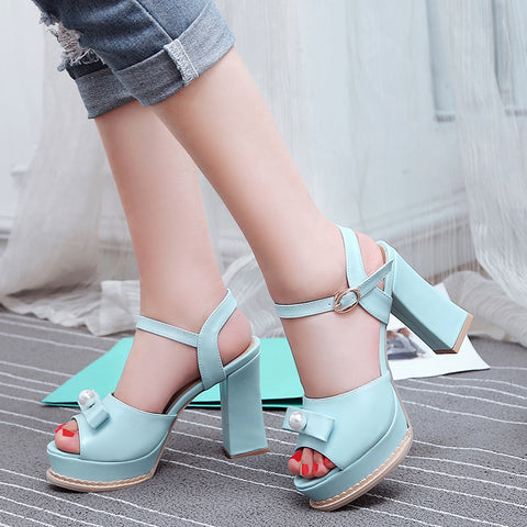 PU Pure Color Peep Toe Block Heel Metal Buckle Belt Pearl Bowtie Sandals 8.5 Blue