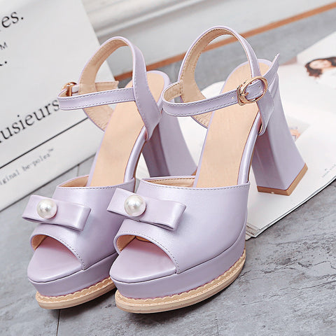PU Pure Color Peep Toe Block Heel Metal Buckle Belt Pearl Bowtie Sandals 9.5 Purple