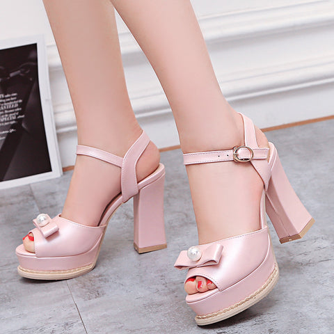 PU Pure Color Peep Toe Block Heel Metal Buckle Belt Pearl Bowtie Sandals 9 Pink