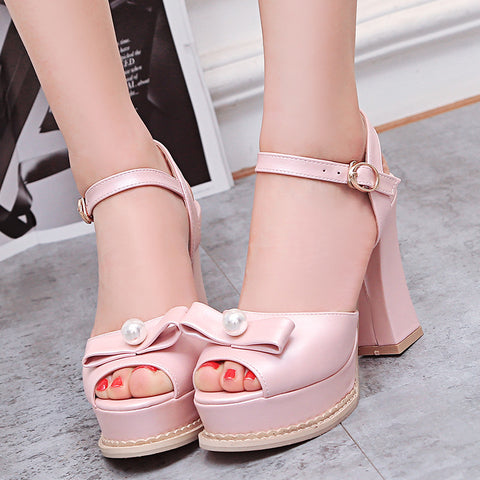 PU Pure Color Peep Toe Block Heel Metal Buckle Belt Pearl Bowtie Sandals 8.5 Pink