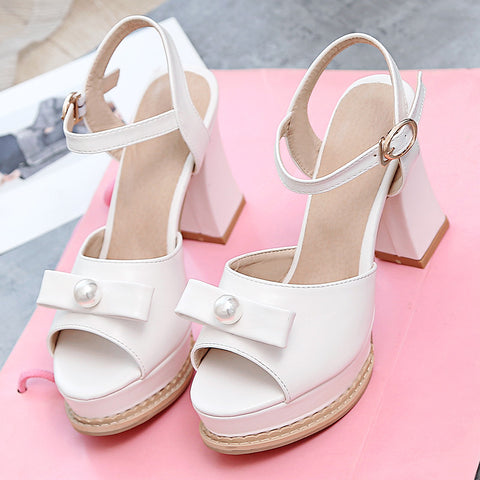 PU Pure Color Peep Toe Block Heel Metal Buckle Belt Pearl Bowtie Sandals 9.5 White