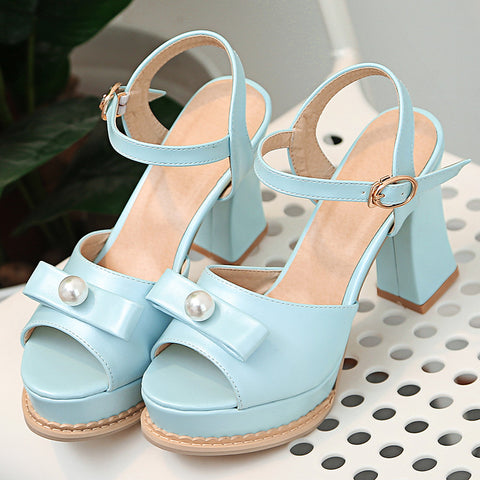 PU Pure Color Peep Toe Block Heel Metal Buckle Belt Pearl Bowtie Sandals 9.5 Blue