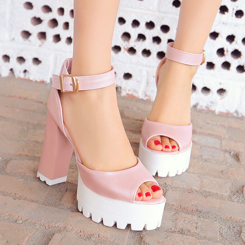 PU Pure Color Peep Toe Block Heel Metal Buckle Belt Sandals 8.5 Pink