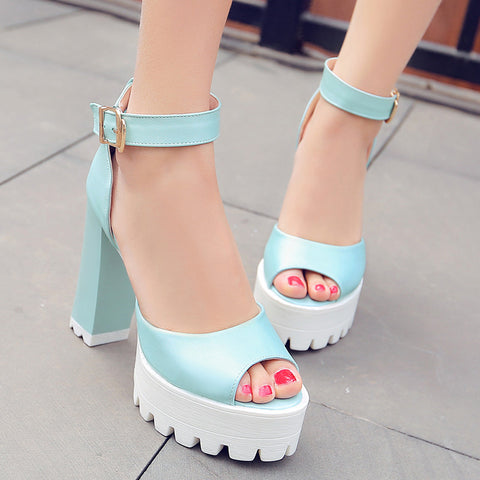 PU Pure Color Peep Toe Block Heel Metal Buckle Belt Sandals 8.5 Blue
