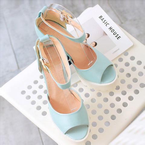 PU Pure Color Peep Toe Block Heel Metal Buckle Belt Sandals 9.5 Blue
