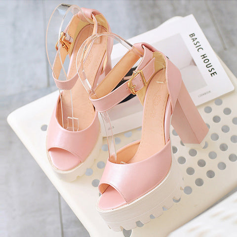 PU Pure Color Peep Toe Block Heel Metal Buckle Belt Sandals 9.5 Pink
