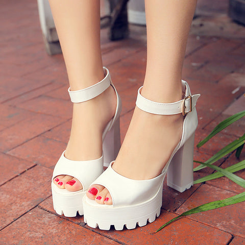 PU Pure Color Peep Toe Block Heel Metal Buckle Belt Sandals 8.5 White