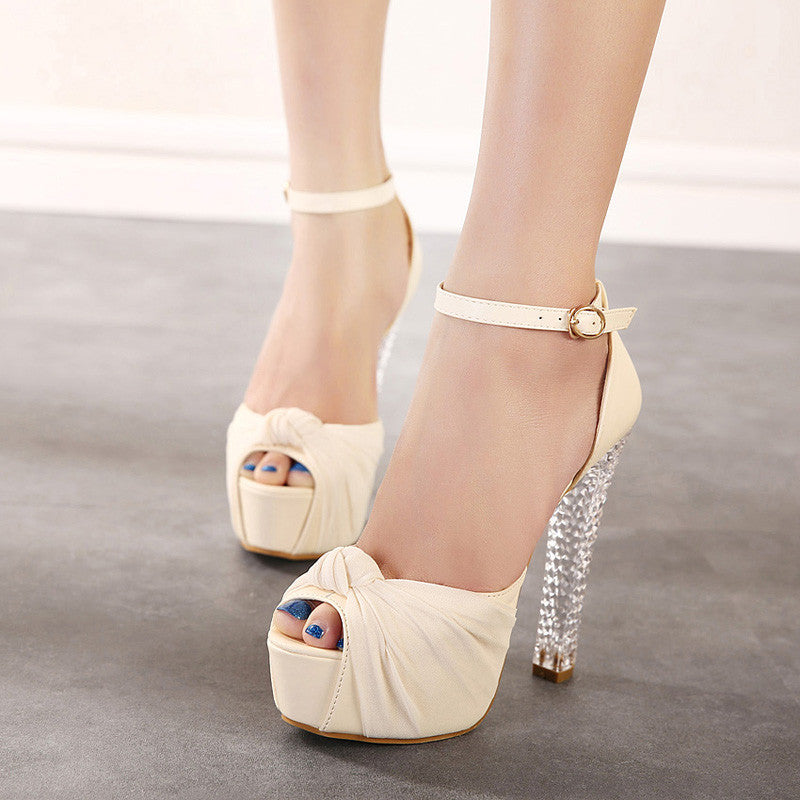PU Pure Color Peep Toe High Crystal Heel Ankle Strap Sandals 7.5 Beige
