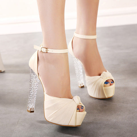 PU Pure Color Peep Toe High Crystal Heel Ankle Strap Sandals 7 Beige
