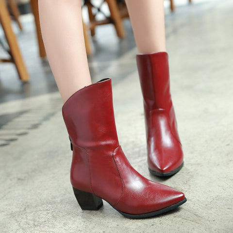 PU Pure Color Pointy Toe Block Heel Back Zipper Short Boots 9.5 Red
