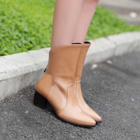 PU Pure Color Pointy Toe Block Heel Back Zipper Short Boots 9.5 Bronze