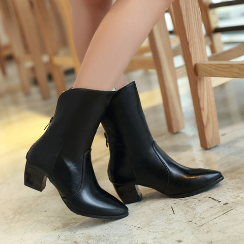 PU Pure Color Pointy Toe Block Heel Back Zipper Short Boots 9 Black