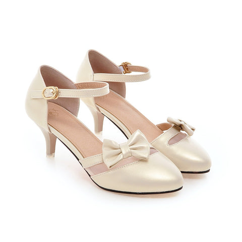 PU Pure Color Pointed Toe Kitten Heel One-buckle Belt Bowtie Sandals 9 Gold