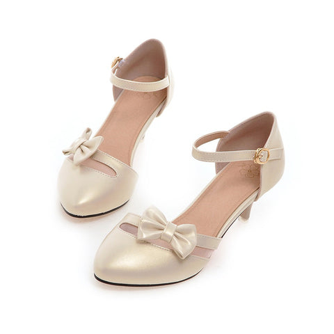 PU Pure Color Pointed Toe Kitten Heel One-buckle Belt Bowtie Sandals 9.5 Gold