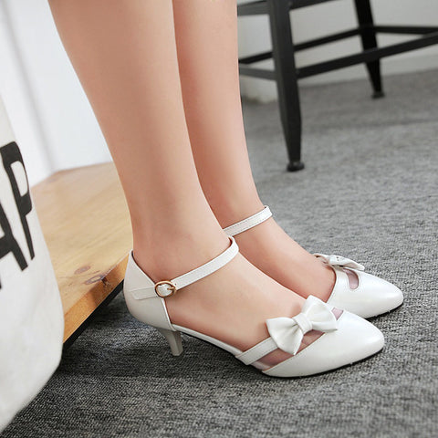PU Pure Color Pointed Toe Kitten Heel One-buckle Belt Bowtie Sandals 9 White