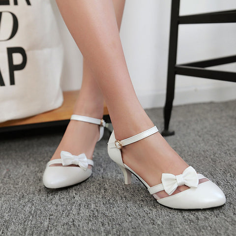 PU Pure Color Pointed Toe Kitten Heel One-buckle Belt Bowtie Sandals 9.5 White