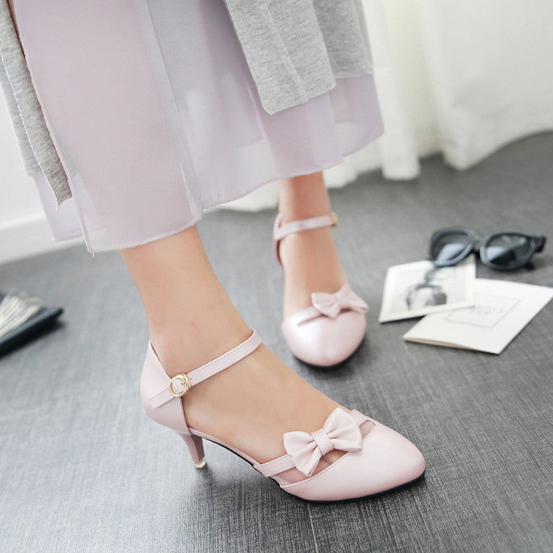 PU Pure Color Pointed Toe Kitten Heel One-buckle Belt Bowtie Sandals 9.5 Pink