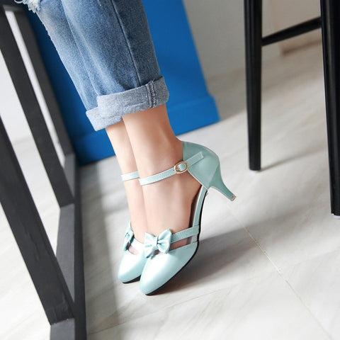 PU Pure Color Pointed Toe Kitten Heel One-buckle Belt Bowtie Sandals 9 Blue
