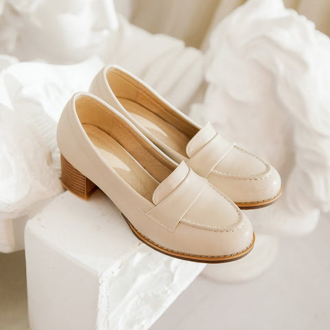 PU Pure Color Pointed Toe Low Block Heel Casual Shoes 8.5 Beige