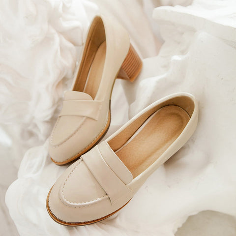 PU Pure Color Pointed Toe Low Block Heel Casual Shoes 9 Beige