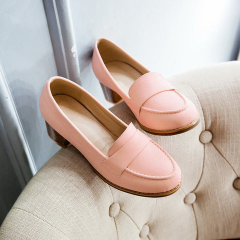 PU Pure Color Pointed Toe Low Block Heel Casual Shoes 9 Pink