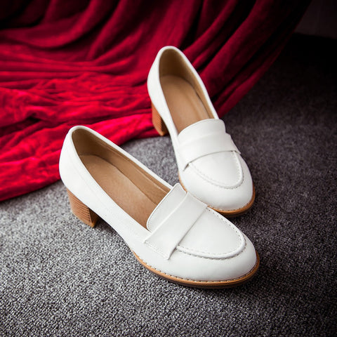 PU Pure Color Pointed Toe Low Block Heel Casual Shoes 8.5 White