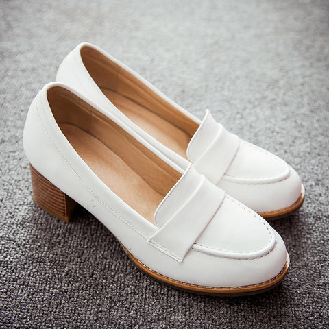 PU Pure Color Pointed Toe Low Block Heel Casual Shoes 9 White