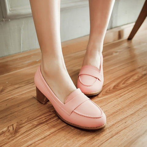 PU Pure Color Pointed Toe Low Block Heel Casual Shoes 9.5 Pink