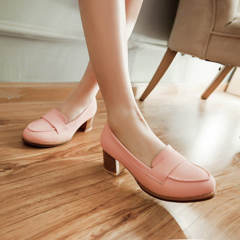 PU Pure Color Pointed Toe Low Block Heel Casual Shoes 8 Pink