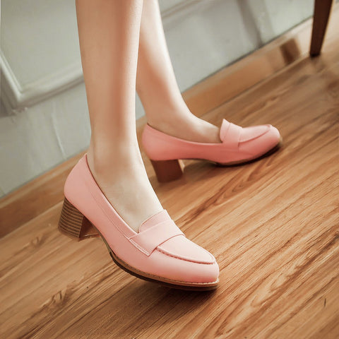 PU Pure Color Pointed Toe Low Block Heel Casual Shoes 8.5 Pink