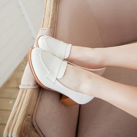 PU Pure Color Pointed Toe Low Block Heel Casual Shoes 9.5 White